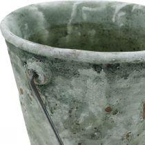Wiadro dekoracyjne, ceramiczne do sadzenia roślin, dekoracja ogrodu, wiadro do roślin antyczny wygląd Ø13,5cm H12cm 2szt.