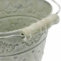 Wiaderko ozdobne myte na biało z uchwytem Ø20,5cm, donica, metalowa dekoracja