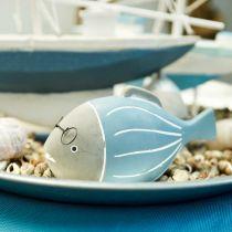 Deco rybka z okularami niebiesko biała 15,5/14,5cm 2szt.