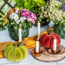 Dekoracyjna dynia flokowana mix pomarańczowy, zielony, czerwony jesienna dekoracja 16cm 3szt.