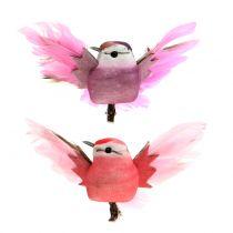Ptaki ozdobne na klipsie różowo/fioletowe 9cm 8szt.