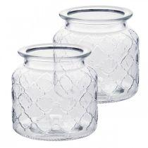 Lampion dekoracyjny wzór romb, słoik szklany, wazon ze szkła, dekoracja na świecę 2szt.