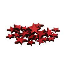 Dekoracja rozproszona drewniane gwiazdki czerwone 3-5cm 72szt