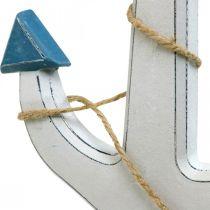Kotwica dekoracyjna drewniana biała, niebieska drewniana kotwica do powieszenia 23cm
