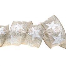 Wstążka świąteczna z motywem gwiazdek naturalna, srebrna 40mm 15m