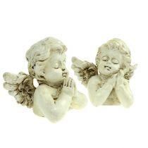 Aniołek dekoracyjny modlący się krem 9cm 8szt.