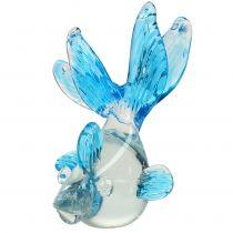Dekoracyjna ryba wykonana z przezroczystego szkła, niebieska 15 cm