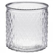Szkło dekoracyjne, lampion z motywem rombów, słoik szklany Ø15cm H15cm