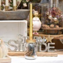 Deco Szklanka z Świecznikiem Złota Metalowa pokrywka Ø8,5cm H16cm