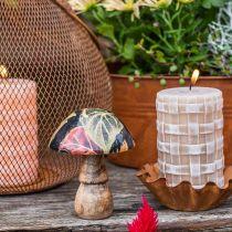 Deco Drewniany Grzyb Jesienne Liście Dekoracja Stołu Czarny, Kolorowy Ø10cm H15cm