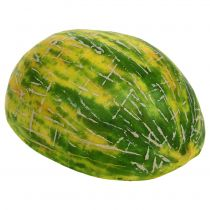 Dekoracyjny melon spadziowy przekrojony na pół pomarańczowy, zielony 13cm