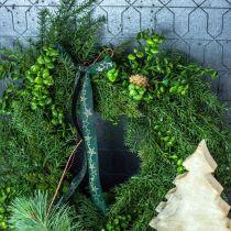 Deco Wieniec Duży Gałązki iglaste, szyszki i Boxwood zielony 70cm