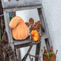 Deco Pumpkin Curved Orange Flocked Artificial Decorative Pumpkin 18cm