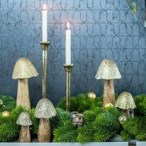 Deco Grzyb Metal Wood Golden, Nature Deco Display 13,5cm