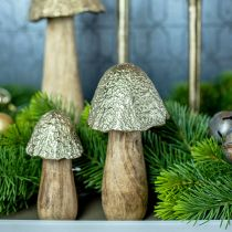 Deco Grzyb Metal Drewno Złoto, Natura Dekoracja Stołu Jesień 18,5cm