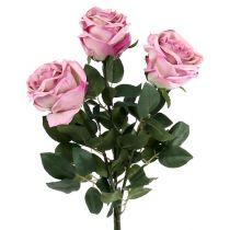 Ozdobny róż wypełniony ciemnoróżowy Ø10cm L65cm 3szt