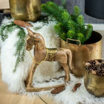 Deco Rocking Horse Wood Solid Christmas Naturalny, Złoty 28×39×9,5cm