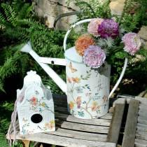 Domek dla ptaków Deco z kwiatami Metal Biały 25,5c×16×13,5cm