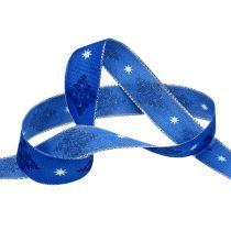 Wstążka dekoracyjna niebieska z wzorem 25mm 20m