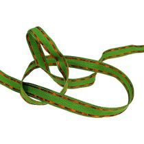Taśma dekoracyjna zielona z krawędzią drucianą 15mm 15m