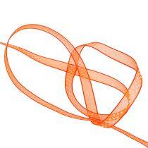 Wstążka dekoracyjna pomarańczowa w kropki 7mm 20m