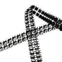 Wstążka dekoracyjna czarna, srebrna 10mm 4m
