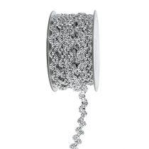 Wstążka dekoracyjna srebrna błyszcząca 10mm 9m