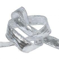 Wstążka dekoracyjna srebrna z drucianym brzegiem 25m