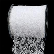 Wstążka dekoracyjna koronka 100mm 10m Biała