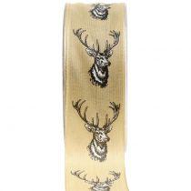 Wstążka dekoracyjna natura z motywem jelenia 40mm 20m
