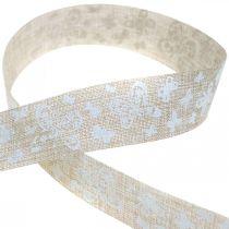 Wstążka dekoracyjna z motylami brązowa 25mm wstążka materiałowa wstążka prezentowa 20m