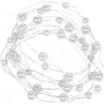 Drut dekoracyjny, naszyjnik z pereł do dekoracji, dekoracje ślubne, wstążka z pereł, girlanda 2,5m