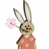 Figurka dekoracyjna Zając Wielkanocny Pomarańczowy, Biały Drewniany Zając Wielkanocny Dekoracja 6szt