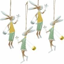 Figurki dekoracyjne zajączek para, dekoracja metalowa, zajączek wielkanocny do powieszenia, dekoracja wiosenna 4szt.