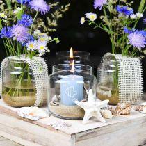 Szkło dekoracyjne, wazon na kwiaty, lampion szklany, dekoracja stołu Ø10cm H10cm 6szt.