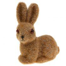 Ozdobny królik flokowany brązowy 8,5 cm 6szt