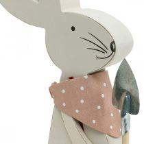 Deco króliczek z łopatą, króliczek chłopiec, dekoracja wielkanocna, drewniany króliczek, króliczek wielkanocny