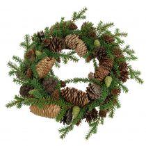 Wieniec dekoracyjny jodła z szyszkami zielony Ø25cm