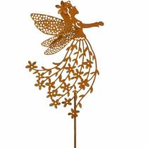 Dekoracyjna wtyczka kwiatowa wróżka, wiosna, metalowa dekoracja, wróżka na patyku, stal nierdzewna
