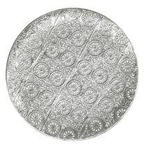 Talerz dekoracyjny srebrny z ornamentem Ø32cm