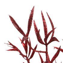 Ozdobna gałąź czerwona z miką 69cm 2szt