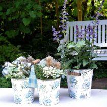 Podwójna doniczka na kwiaty letnia dekoracja sadzarka metalowa z uchwytem vintage look Ø11,5cm
