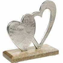Ozdobne serce srebrne, metalowe serce na drewnie mango, Walentynki, dekoracja stołu podwójne serce