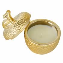 """Świeca zapachowa """"Spiced Apple"""" w pudełku jubilerskim jabłko złote Ø7,2cm H8,5cm"""