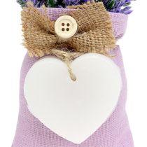 Lawendowa torba 18 cm z woskowym sercem