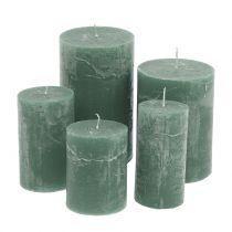 Kolorowe świeczki zielone różne rozmiary