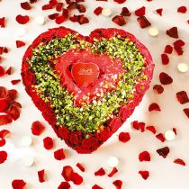 Kwiatowe serce piankowe z systemem zatrzaskowym zielone 20cm 2szt