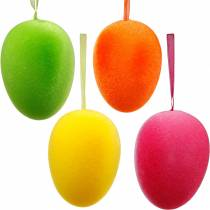Pisanki do zawieszenia kolorowe, jajka flokowane, wielkanocne, wiosenne dekoracje 8szt.