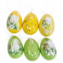 Ozdobny bukiet wielkanocny jajko do zawieszania żółty, zielony mix wys.7cm 6szt