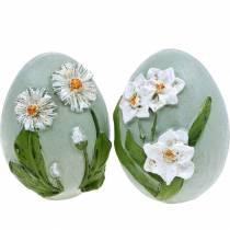 Jajka Wielkanocne z motywem kwiatowym Stokrotki i Żonkile Niebieskie, Zielone gipsowe Asortyment 2szt.